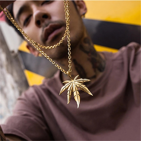 Punk jewelry, Chain Necklace, mens necklaces, leaf