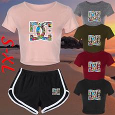 Summer, croptopandshortsset, Fashion, T Shirts
