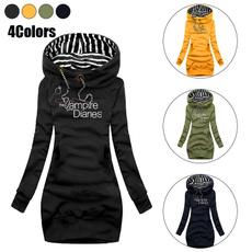slim dress, hooded, Necks, Long Sleeve