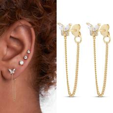 butterfly, Sterling, DIAMOND, gold