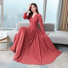 slim dress, elastic waist, Waist, chiffon