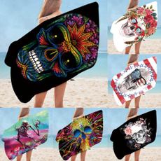 Summer, personalizedbeachtowel, Towels, skull
