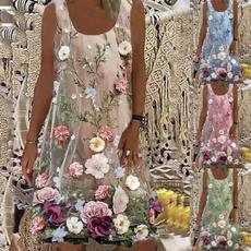 Summer, Loose, Floral print, Necks