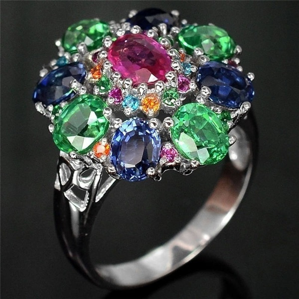 diopside, Silver Jewelry, DIAMOND, 925 sterling silver
