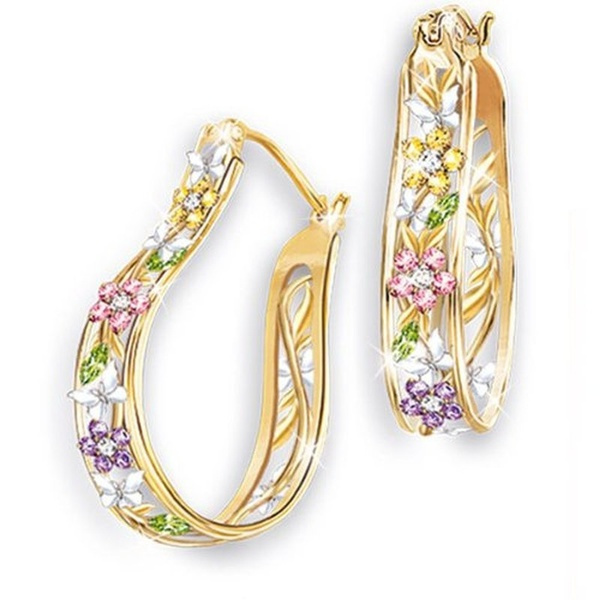 earringforwomen, Fashion Accessory, DIAMOND, flowerjewelry