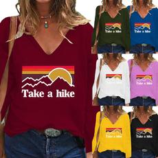 Fashion, Long Sleeve, Women's Sweatshirt, V-neck