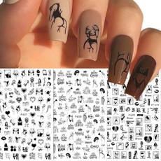 nail stickers, redblackandwhiteflower, Love, Beauty