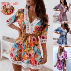 Fashion, sleeve dress, Lace, chiffon