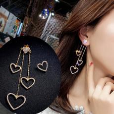 Heart, Crystal, Hoop Earring, Dangle Earring