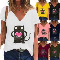 Deep V-Neck, ladies clothes, Plus Size, Graphic T-Shirt