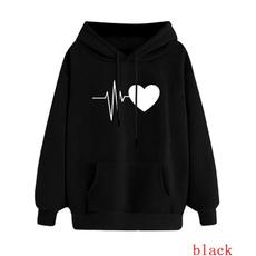 Fleece, hooded, Love, black hoodie