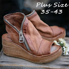 ankle boots, wedge, Plus Size, Women Sandals