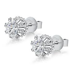 White Gold, DIAMOND, vintage earrings, Stud Earring