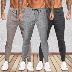 pencil, plaid, men trousers, Casual pants
