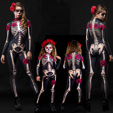 roseprint, parentchildhalloweenjumpsuit, Skeleton, Cosplay Costume