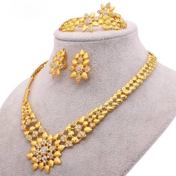 Bridal Jewelry Set, gold, 24-k, Earring
