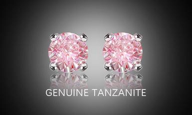 pink, roundcutearring, Silver Earrings, moissanite earrings
