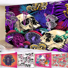 Flowers, art, skull, Wall