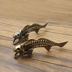 Brass, Key Chain, Jewelry, brassfishbonekeychainpendant