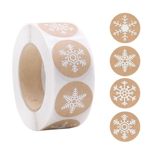 kraftpaperlabel, Christmas, snowflakesticker, navidadsticker