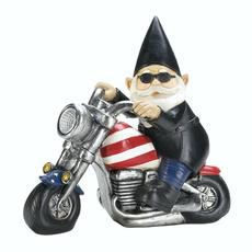 Statue, biker, gnome, Solar