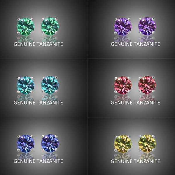DIAMOND, Stud Earring, mosangstoneearring, tanzanite