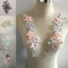 boutonnierepatch, Flowers, imitationpearl, patchsewing