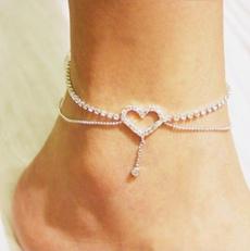 Heart, Jewelry, Chain, Crystal Bracelet