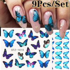 Blues, Summer, nail decals, Flowers