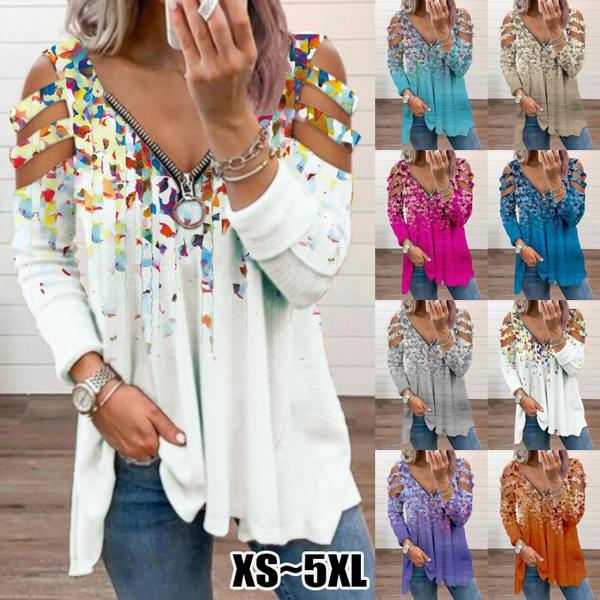 Deep V-Neck, blouse, Plus Size, Floral print