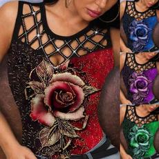 roseprintedvest, hollowvest, Vest, Fashion