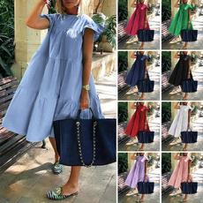 Summer, Plus Size, ruffle, Tunic dress