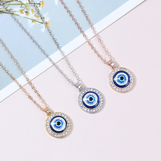 Blues, clavicle  chain, ethnicnecklace, eye