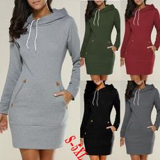 pockethoodie, Fashion, Long Sleeve, Dress