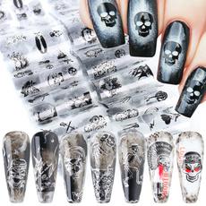 decoration, nail stickers, art, blackskull