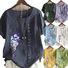 blouse, Fashion, cottonlinen, Graphic T-Shirt