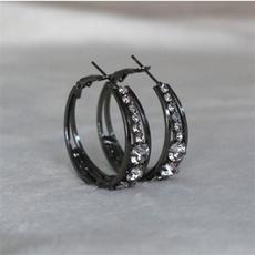 DIAMOND, circlehoopearring, gold, blacksapphireearring
