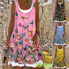 butterfly, Summer, Plus Size, Vestidos