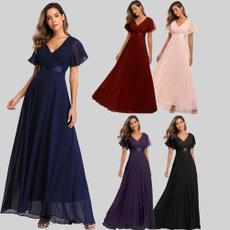 gowns, evening, ruffle, chiffon