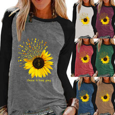 Fashion, Graphic T-Shirt, Sunflowers, Long sleeved