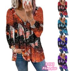 butterfly, Deep V-Neck, Fashion, Long Sleeve