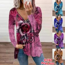 Plus Size, Long Sleeve, womenloosetshirt, womenautumnblouse