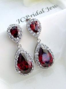 Sterling, DIAMOND, wedding earrings, sterling silver