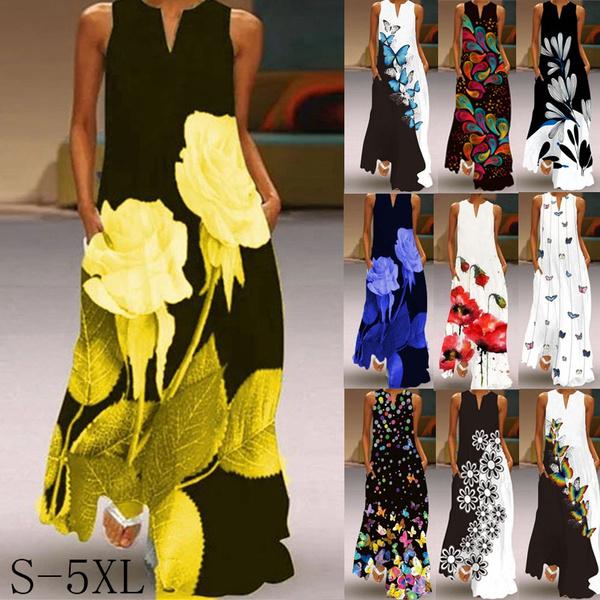 butterfly, Summer, long dress, Dress