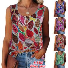 sleevelesstopsforwomen, Summer, womenroundnecktshirt, cute