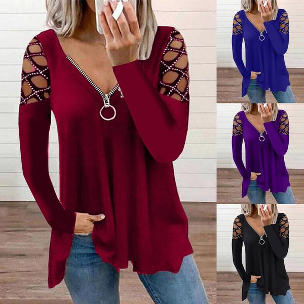 blouse, Plus Size, Necks, Hollow-out