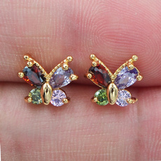 butterfly, yellow gold, rainbow, Jewelry