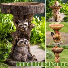 brown, raccoondecor, resinbirdfeeder, animalstatue