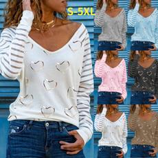 Plus Size, Love, Long Sleeve, V-neck