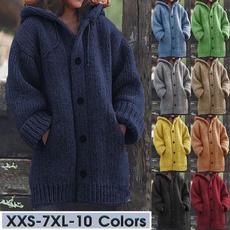 Plus Size, knittedjacket, hoodedloosesweater, knitted
